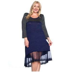 Charcoal & Navy Dress with Lace Bottom Hem